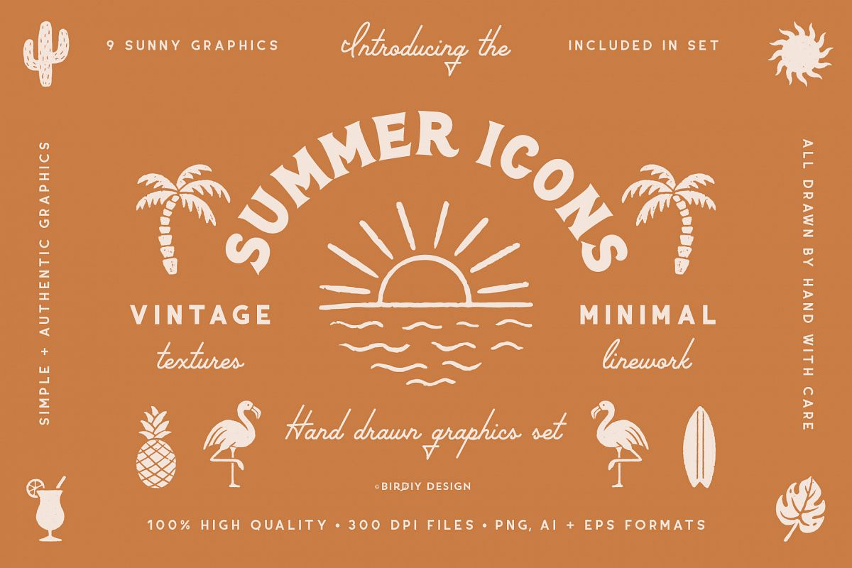 Summer Icons Hand Drawn Graphics Set example image 1