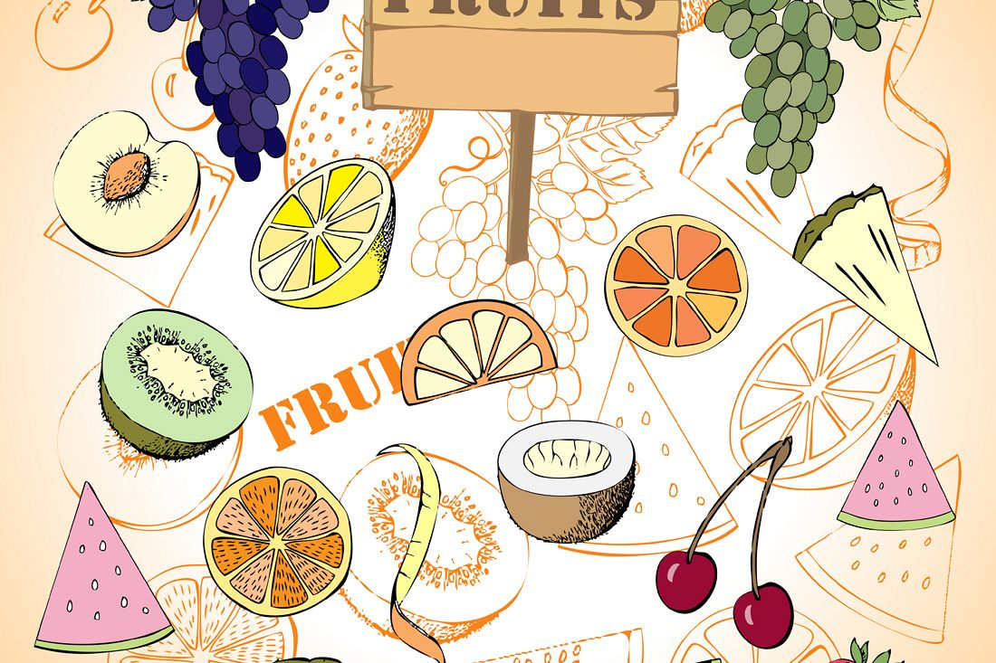 Fruit Set. Hand Drawn Sketches example image 1