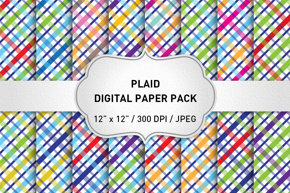 Plaid Digital Paper Pack / Backgrounds / Scrapbooking / Patterns / Printables / Card Making example image 1