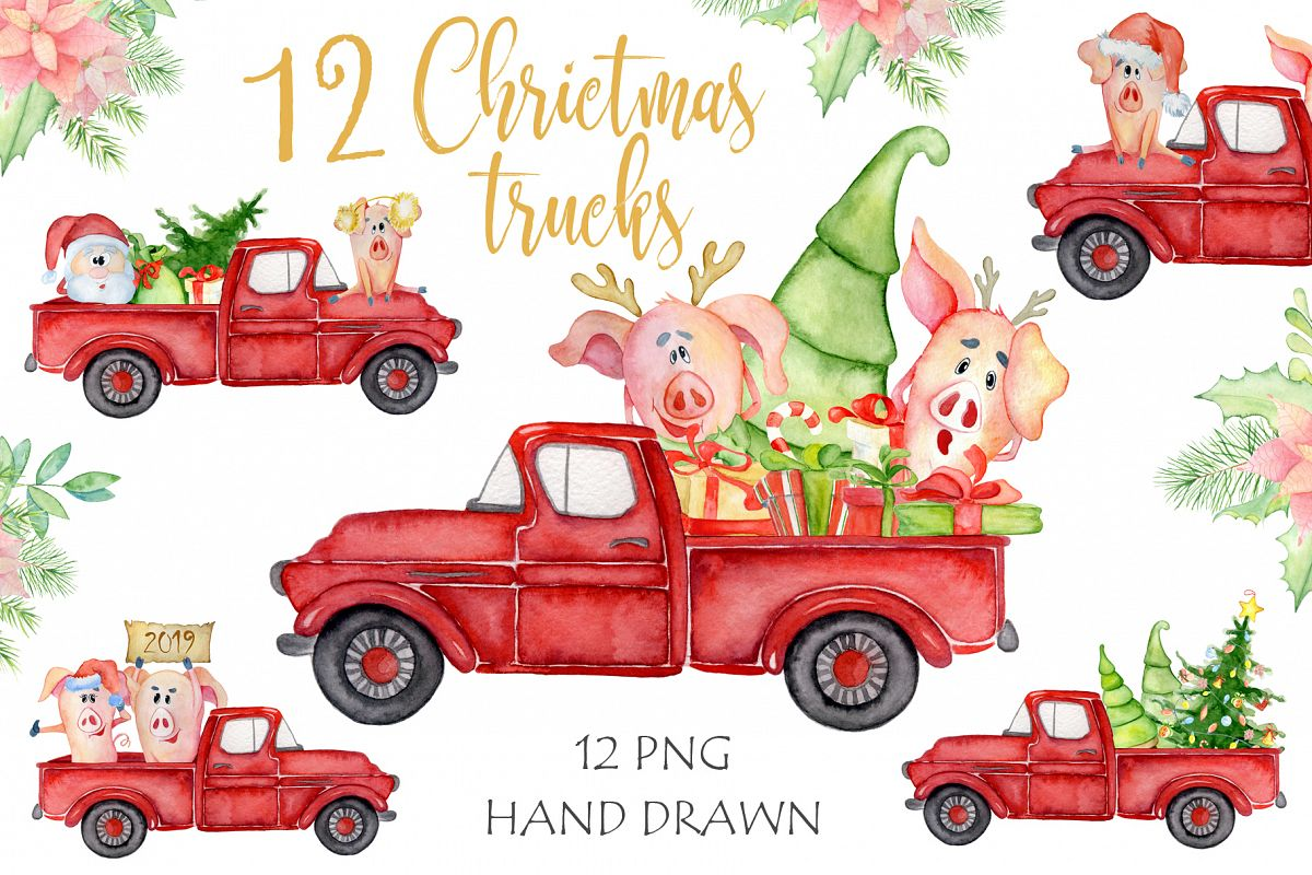 Christmas truck with xmas trees, sants and cute pigs example image 1