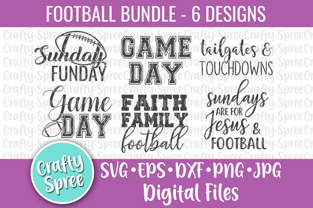 Football Game Day Bundle SVG DXF Design File Sublimation example image 1