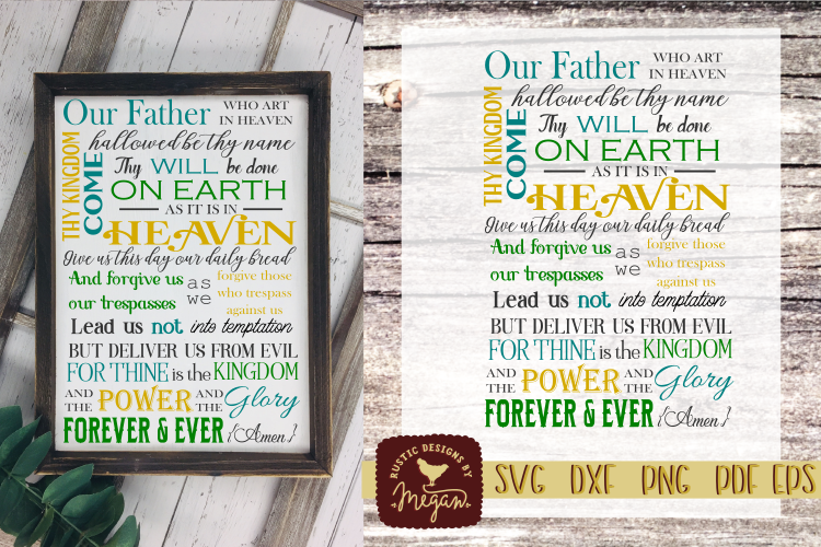 Farmhouse Religion Prayer SVG EPS DXF Commercial Cut file example image 1