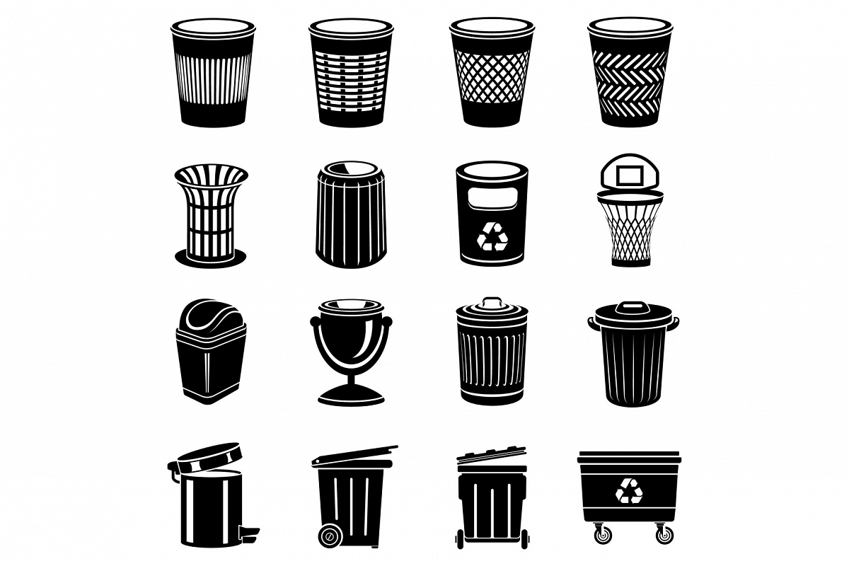 Trash can icons set, simple style example image 1