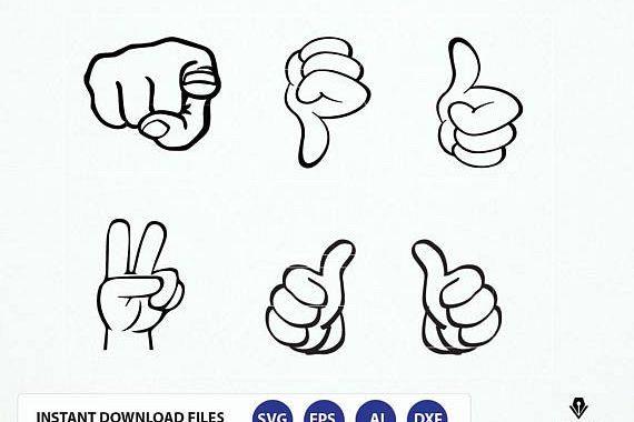 Svg file thumbs up. Hand Signs Clipart, This Guy Thumbs Svg, dxf, eps, png graphics example image 1