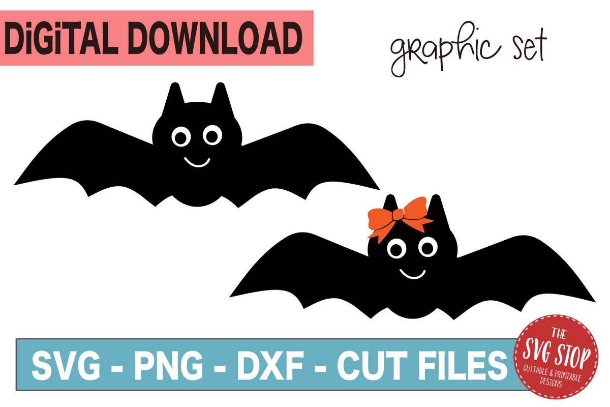 Halloween Graphics Flying Bats - SVG, PNG, DXF example image 1