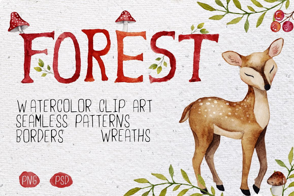 Forest watercolor set example image 1