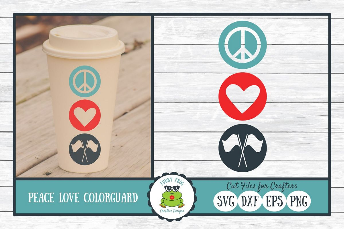 Peace Love Color Guard SVG Cut File for Crafters example image 1