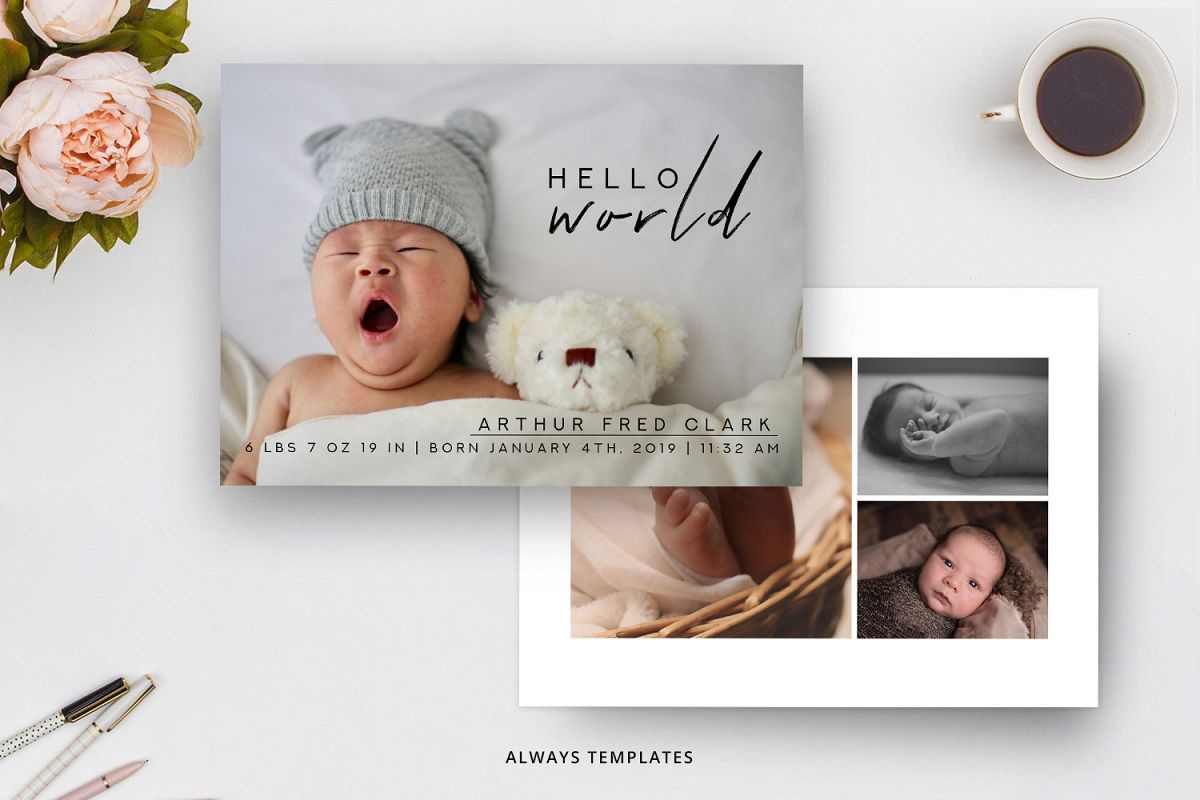 Birth Announcement Template BA008 example image 1