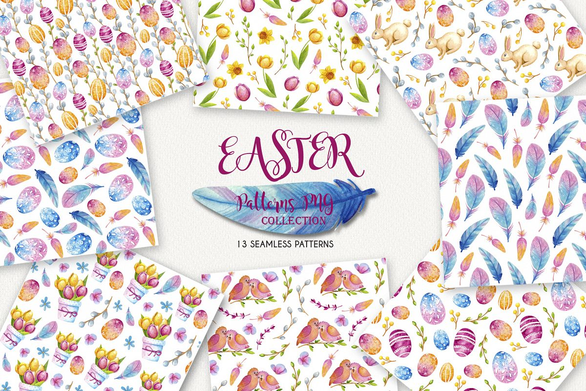 Easter Sealess Patterns - Watercolor Set example image 1