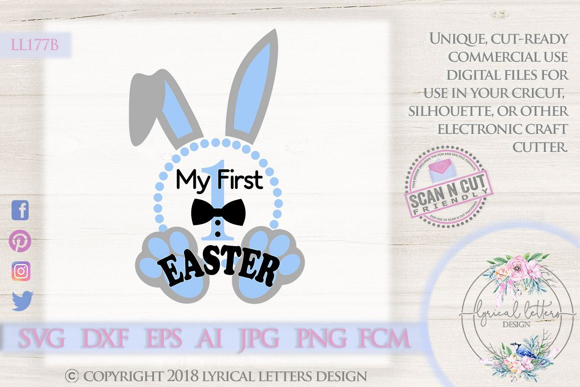 My First Easter Baby Boy Bunny Ears SVG DXF Cut File LL177B example image 1