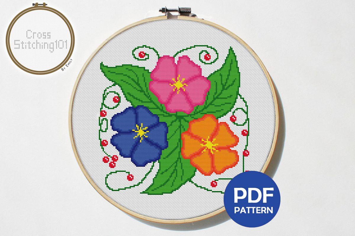 Three Flowers Cross Stitch Pattern - Instant Downlod PDF example image 1