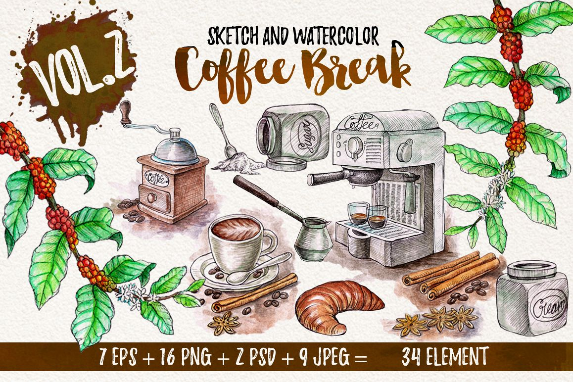 Watercolor Coffee Break example image 1
