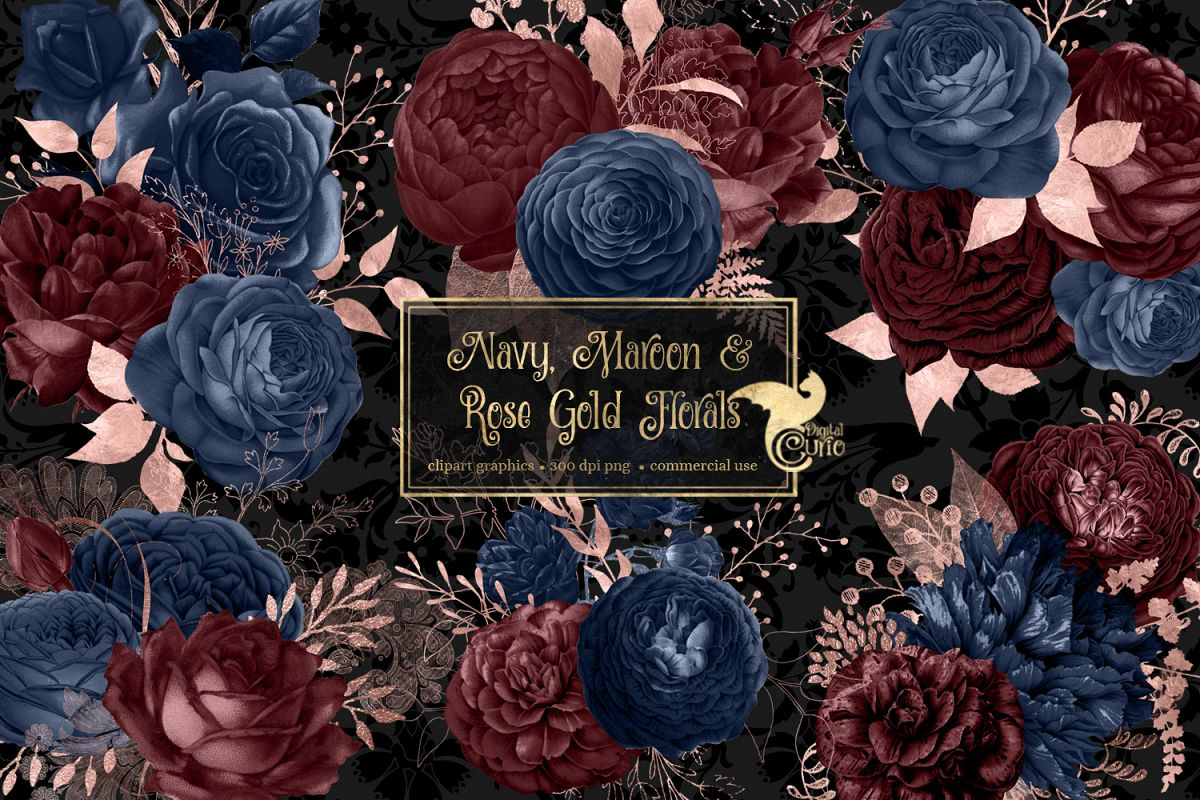Navy Maroon And Rose Gold Floral Clipart