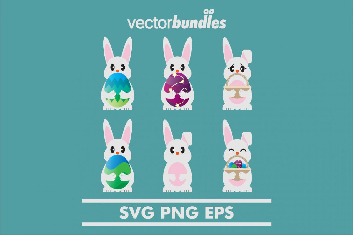 Easter egg bunny clip art svg example image 1
