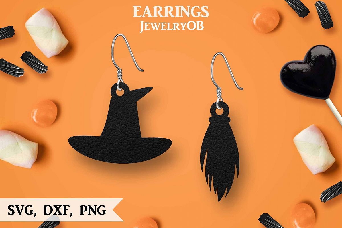 Halloween Earrings, Cut File, SVG DXF PNG Formats, Broom Hat example image 1