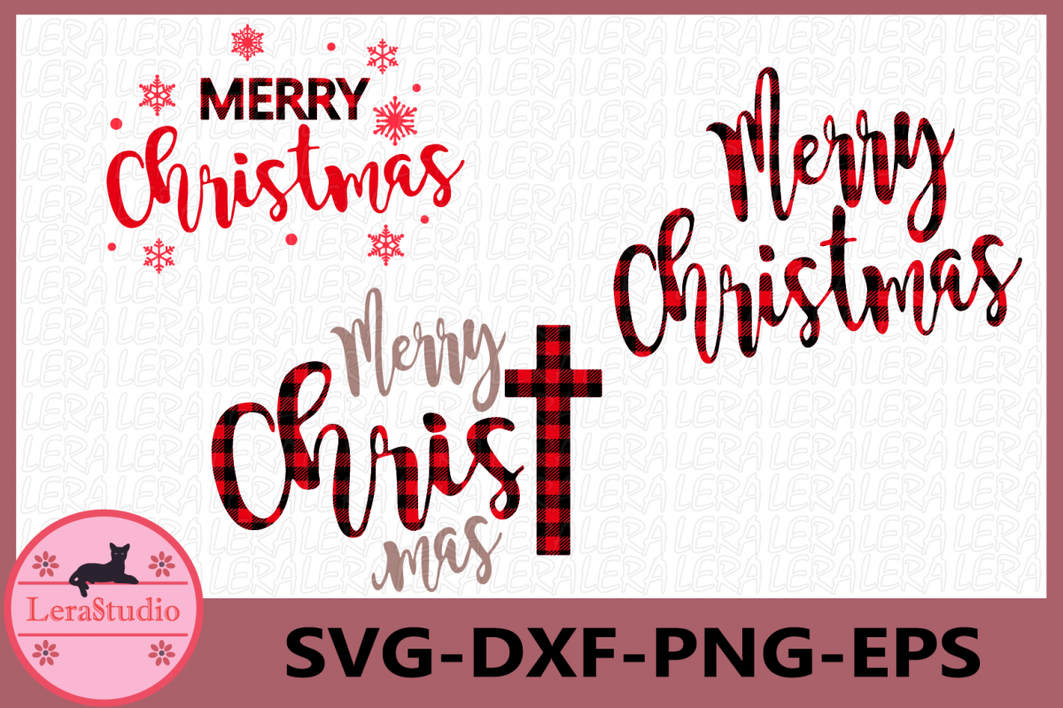 Merry Christmas SVG, Buffalo Plaid Svg, ChrisTmas svg example image 1