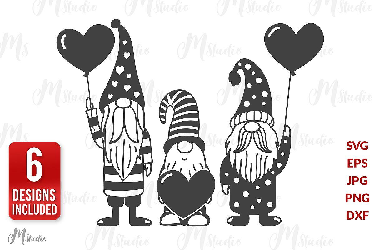 Valentine Gnomes Svg . V3 example image 1