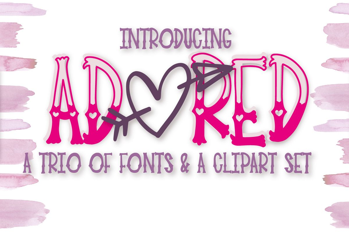 Adored - A Hand Lettered Font Trio & Clipart Pack example image 1