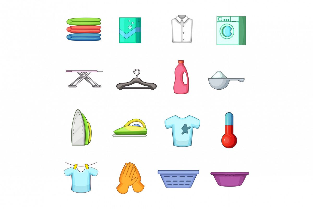 Laundry icons set, cartoon style example image 1