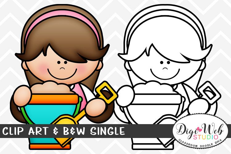 Clip Art & B&W Single - Summer Girl w/ A Pail of Sand Topper example image 1