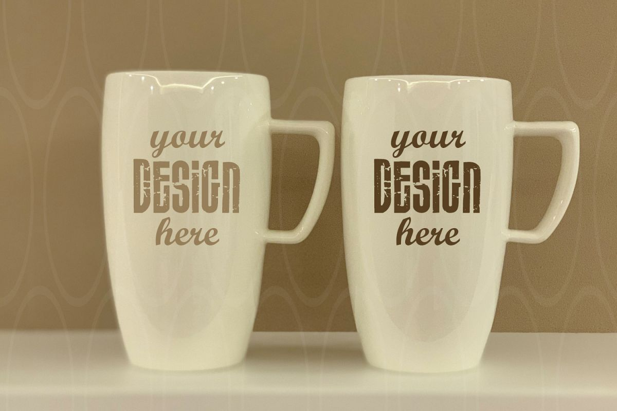 White Mugs mock up Styled Stock Photo Blank White Coffee example image 1