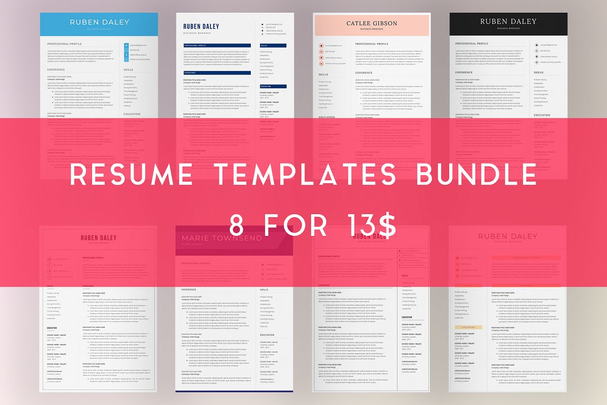 Resume Template Bundle | 4 Pages and Cover Letter example image 1