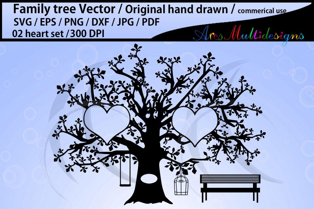 2 hearts family tree clipart / hand drawn tree svg vector example image 1