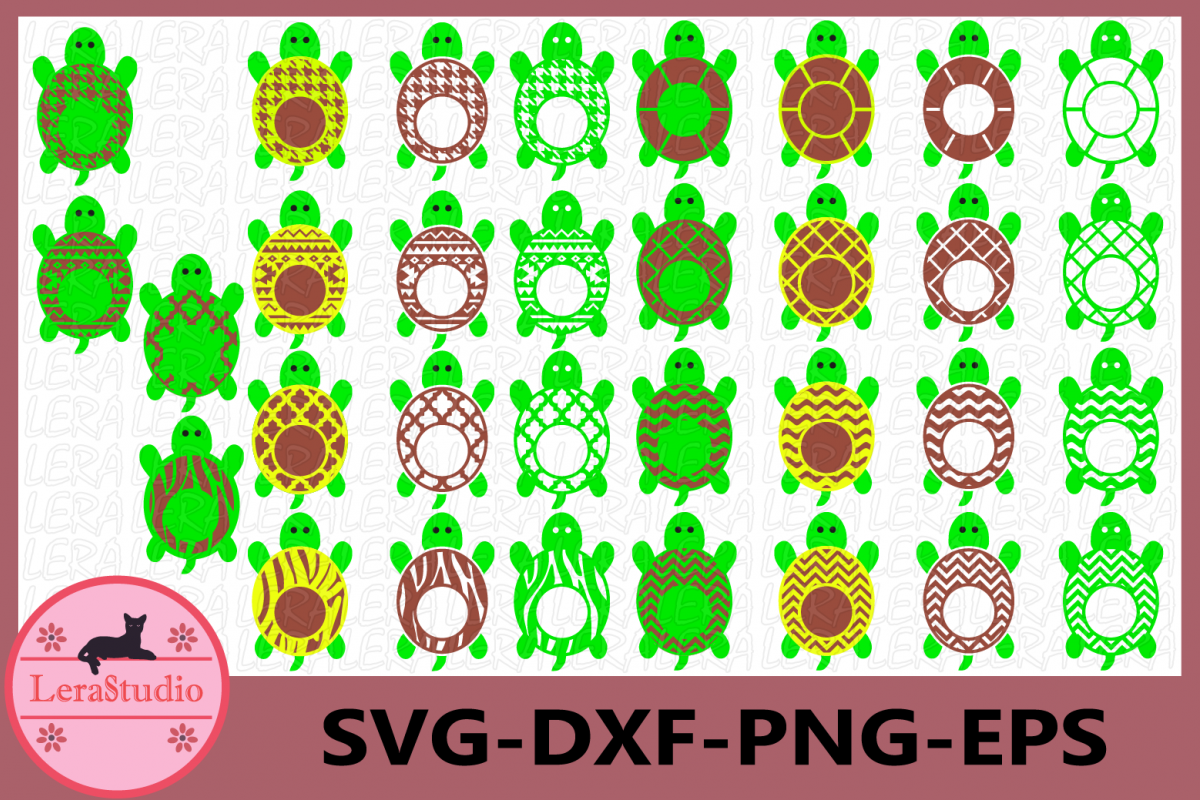 Turtle Monogram Frame SVG, Turtle SVG Cut File, Beach Turtle example image 1
