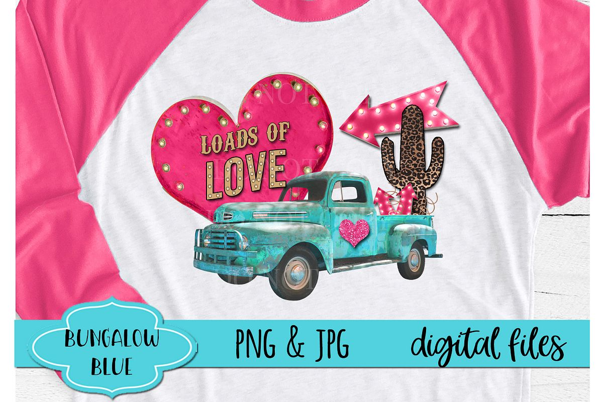 Loads of Love Vintage Valentine Truck Digital Download example image 1