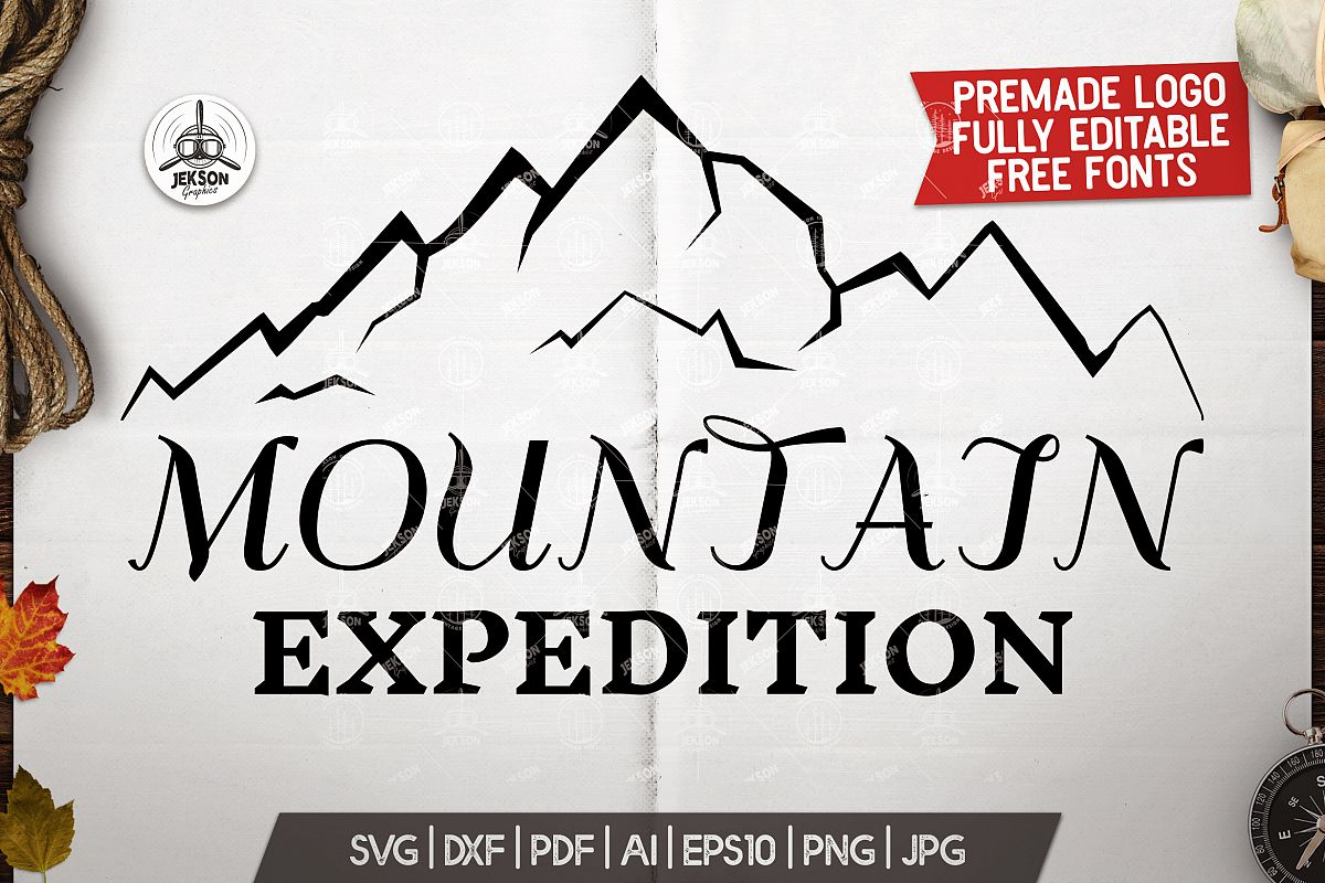 Mountain Expedition Logo Template, Retro Camp SVG File example image 1