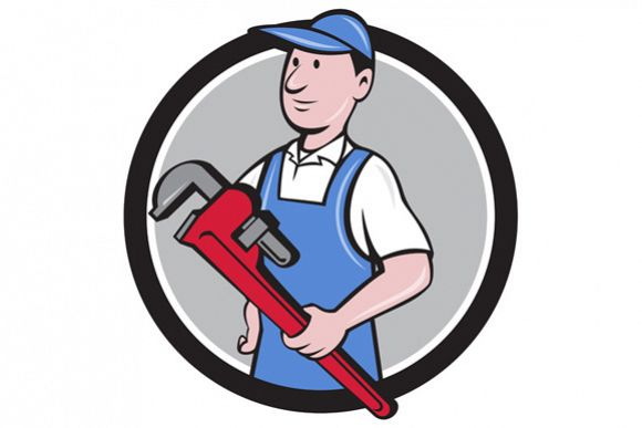 Handyman Holding Pipe Wrench Circle Cartoon example image 1