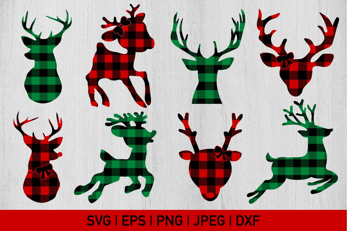 Red and Green Buffalo Plaid Christmas Svg Bundle example image 1