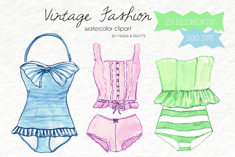 Watercolor Clip Art - Vintage Fashion example image 1