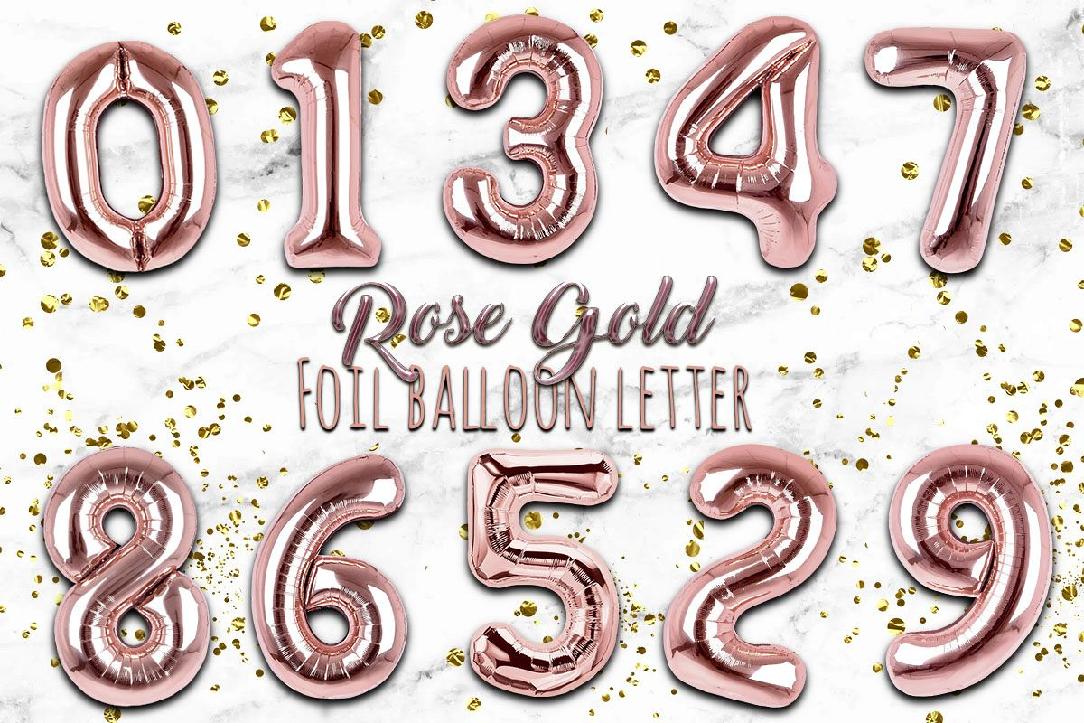 Rose Gold Foil Balloon Numbers PNG- Hand Drawn example image 1