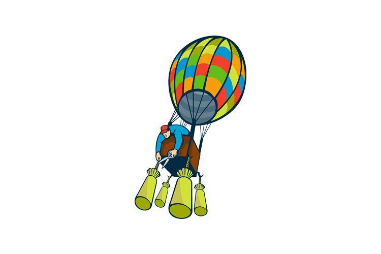Man Cutting Ballast Hot Air Balloon example image 1