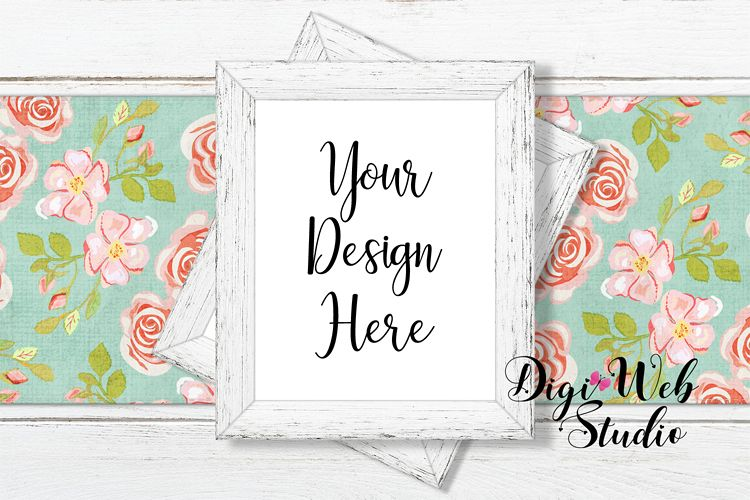 Flat Lay Wood Signs Mockup - Wood Frames on Table Runner example image 1