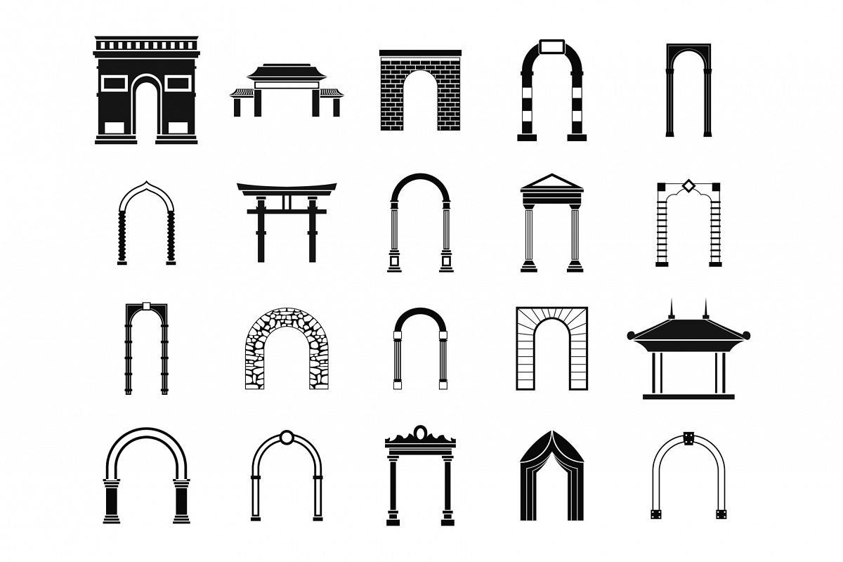 Arch icon set, simple style example image 1