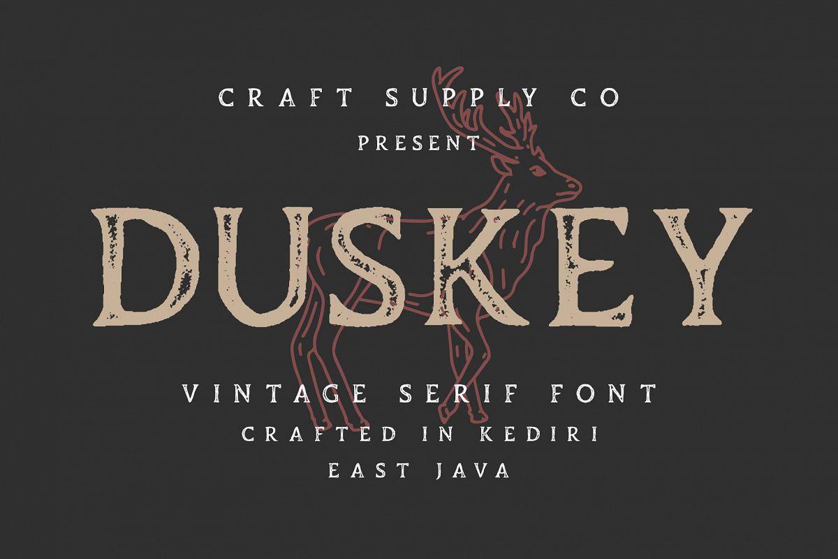 Duskey - Vintage Serif Font Bonus Extras example image 1