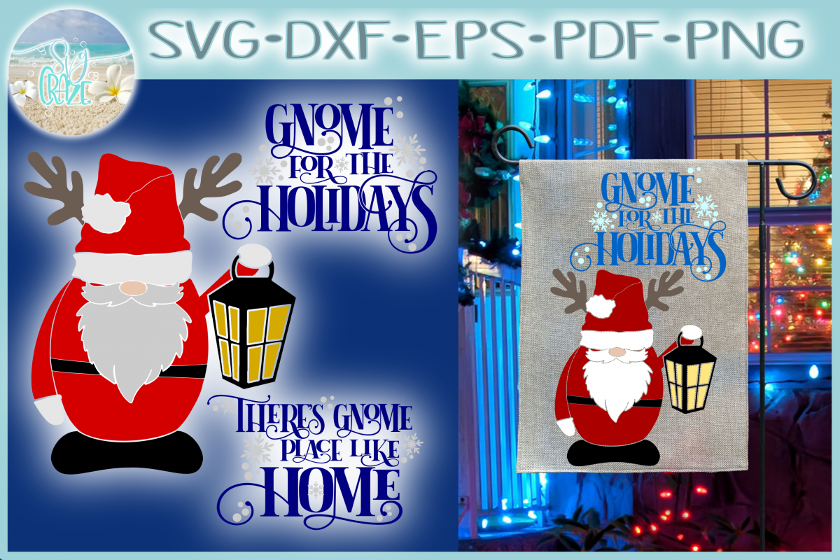 Theres No Place Like Home For The Holidays Quote Santa Gnome example image 1