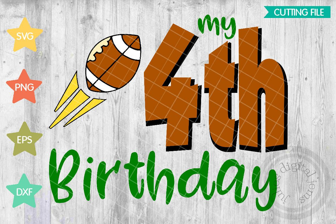 Fourth Birthday Shirt Boy SVG Football Svg Example Image 1