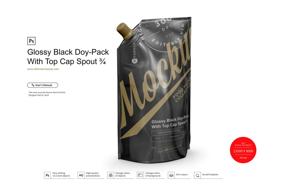 Glossy Black Doy-Pack With Top Cap Spout example image 1