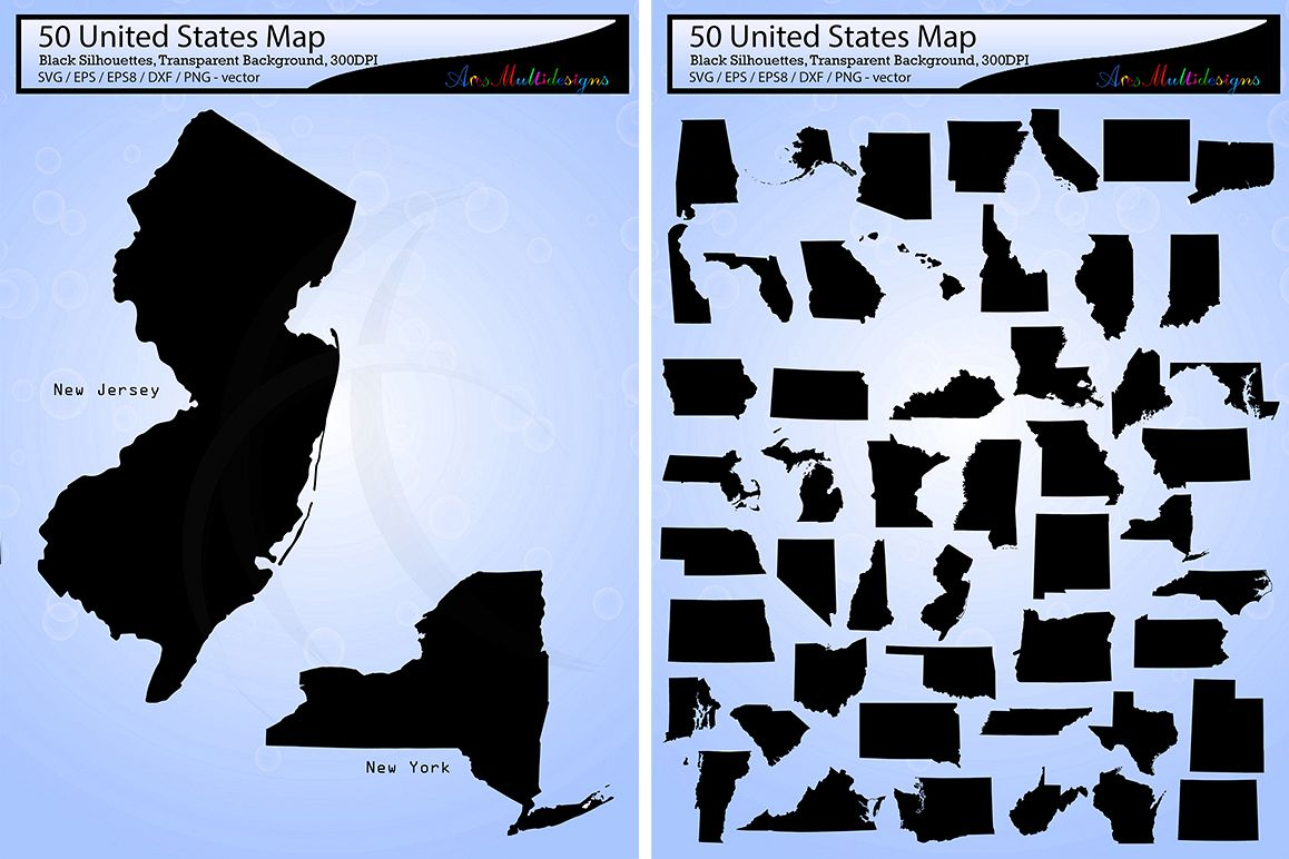 United States Map Svg.United States Map Vector 50 Usa Map Silhouette Svg Eps Png