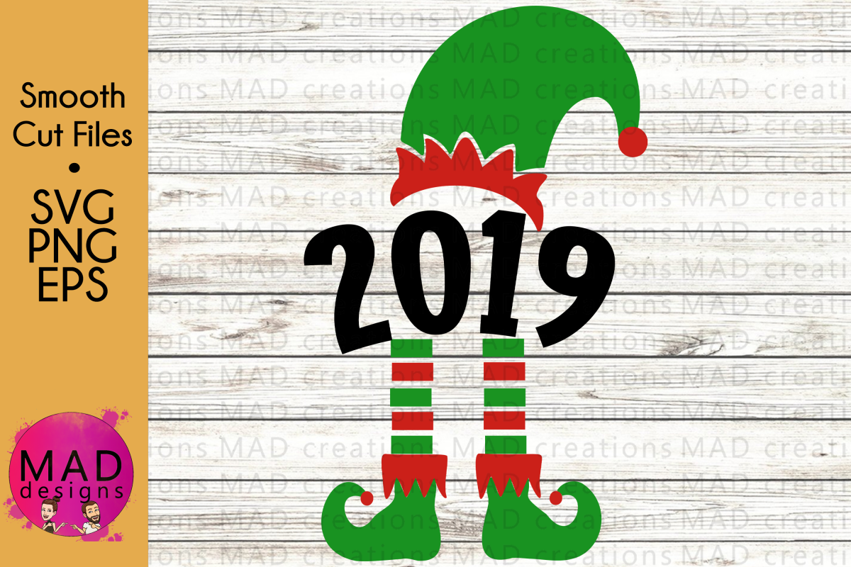 Christmas Elf - Year 2019 - Hat and Shoes Socks - SVG example image 1