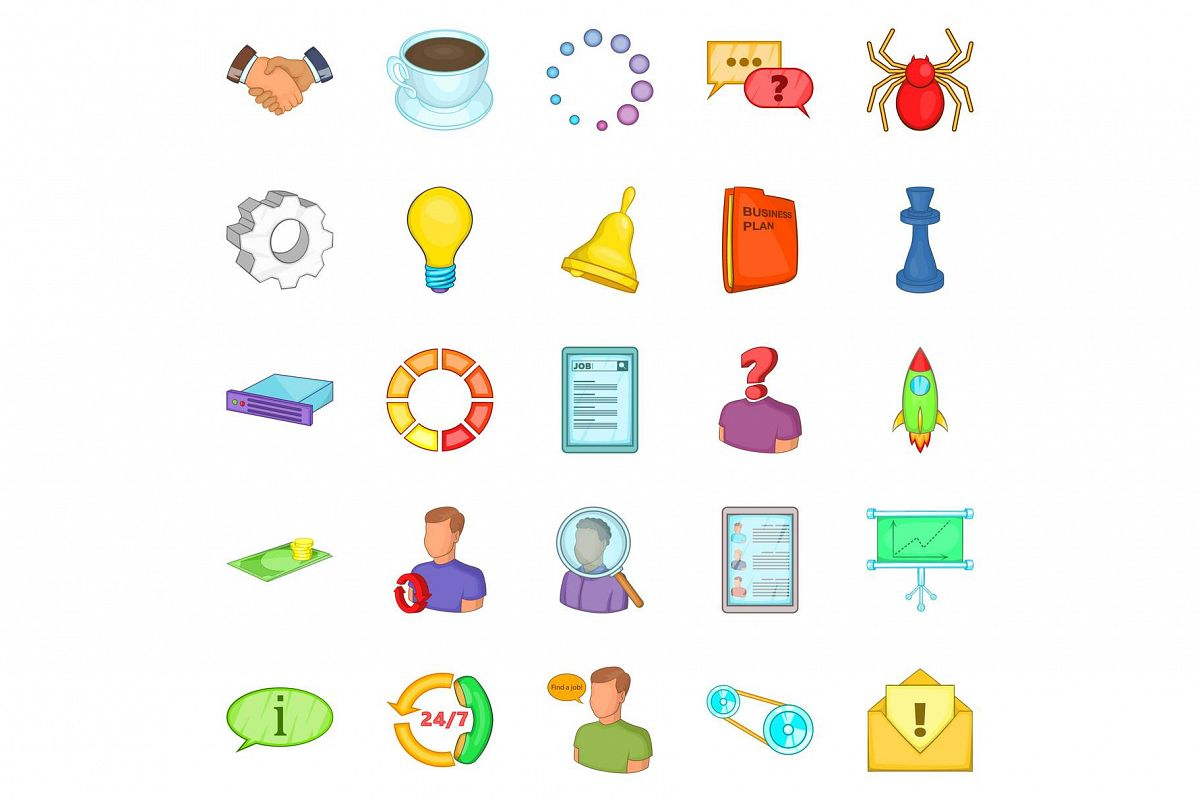 Business workshop icons set, cartoon style example image 1