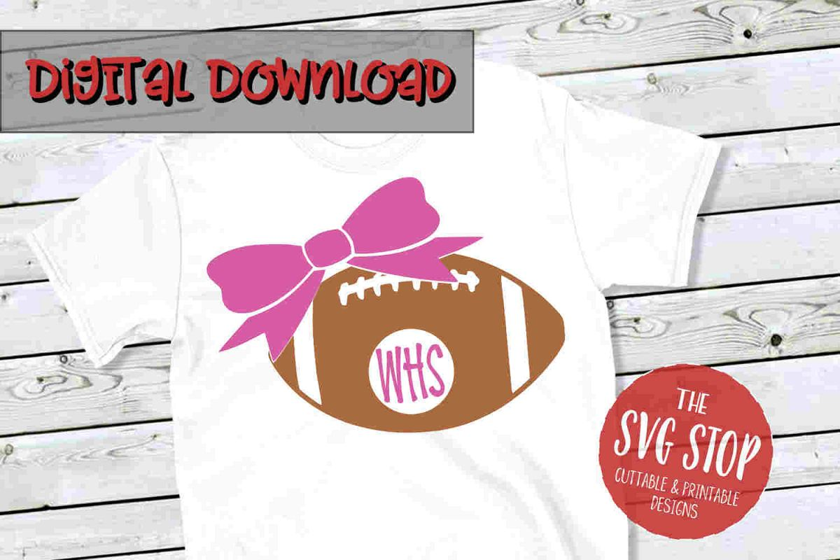 Football Bow 3-SVG, PNG, DXF example image 1