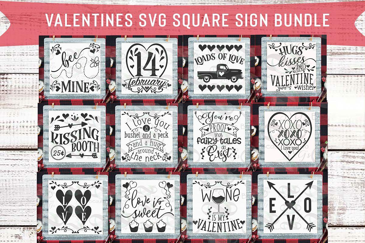 Valentines Square Svg Sign Bundle, 12 svg Valentines Designs example image 1