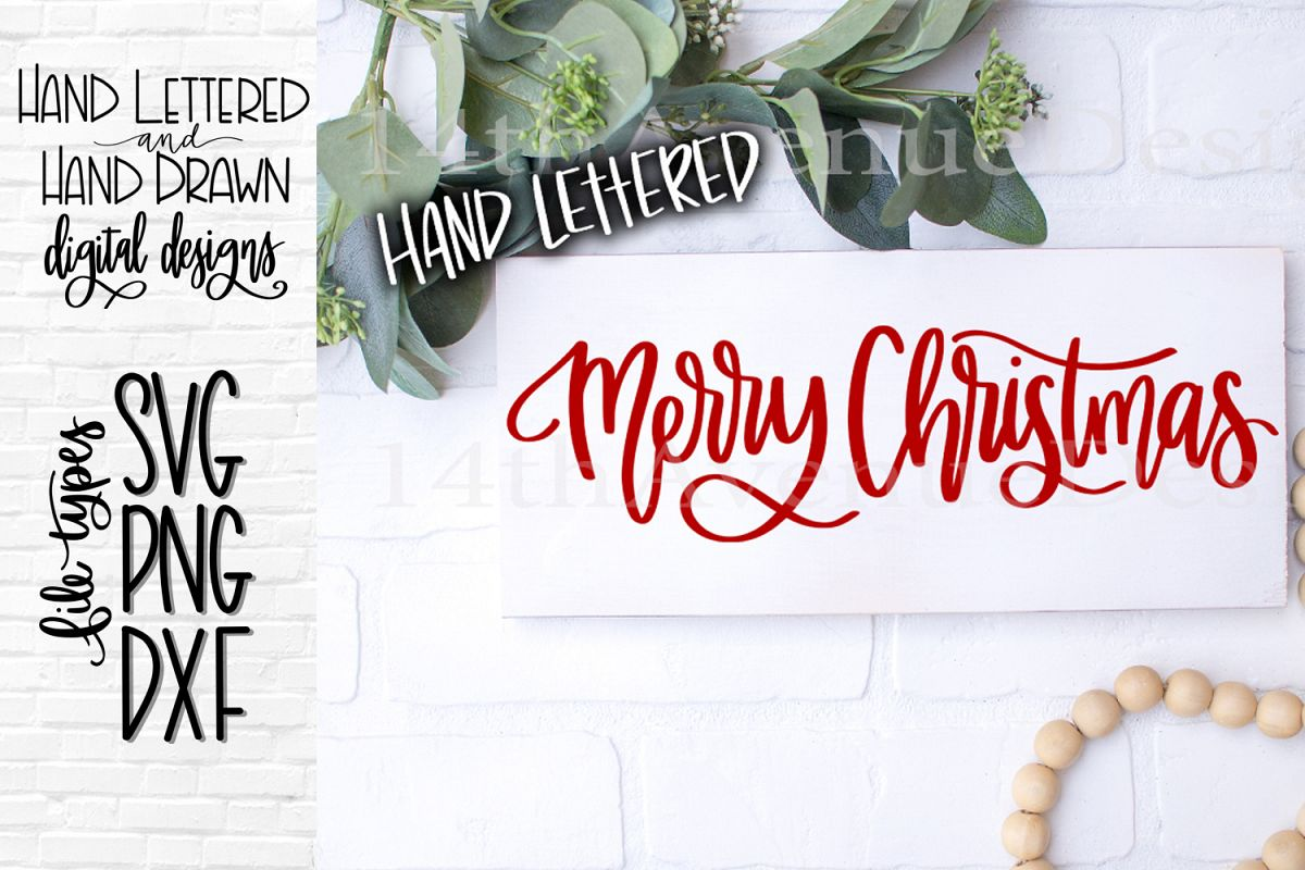 Merry Christmas SVG, Christmas Cut File, Hand Lettered example image 1