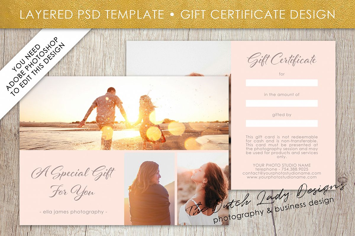 Photo Gift Card Template For Adobe Photoshop   Layered PSD Template    Design #1 Example