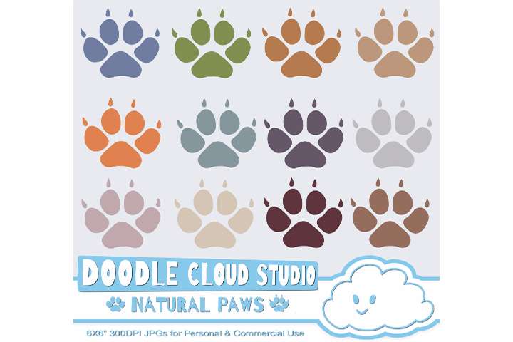 Natural Paw Prints Cliparts, Dog  Cat Paws, Pet Clip Arts, Animal Paws, Transparent  White Backgrounds, Instant Download, Commercial Use example image 1