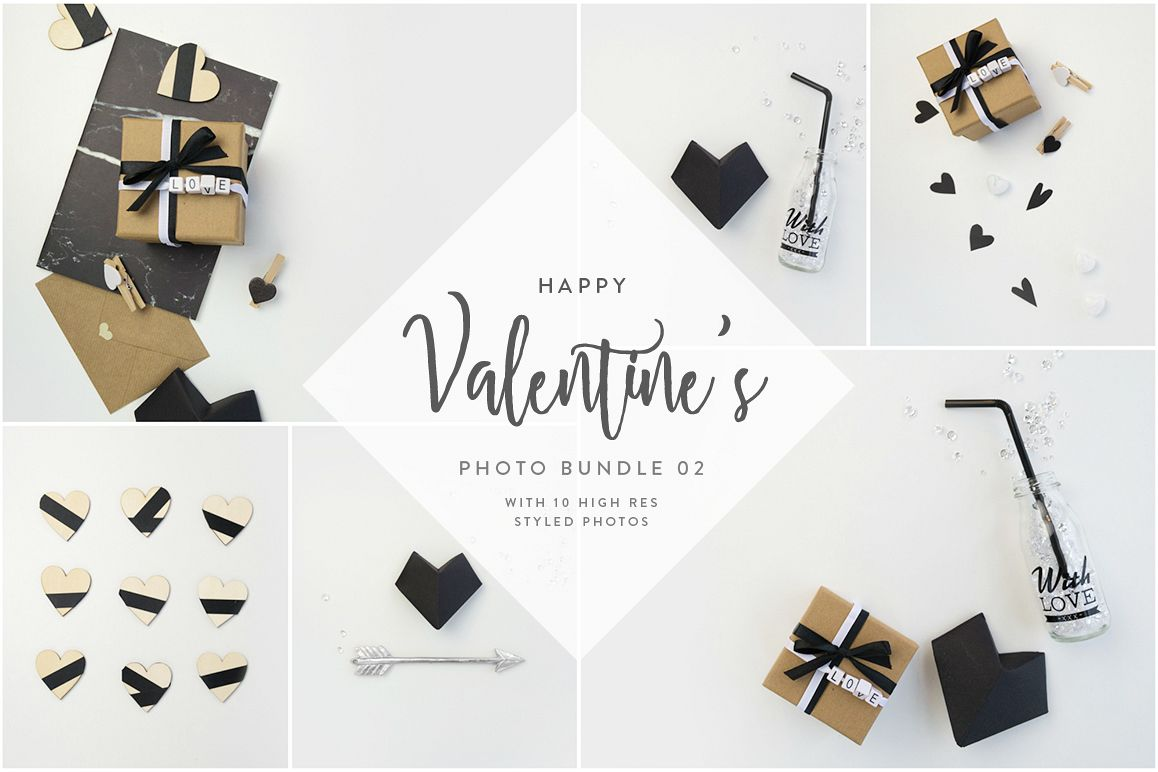 Valentine's Styled Photo Bundle - Black & White example image 1